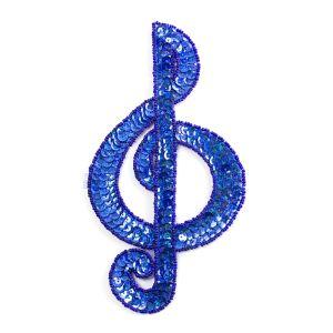 www.houseofadorn.com - Motif Sequin & Beaded Treble Clef Large 19cm Style 10175 - Laser - Cobalt Blue
