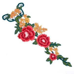 www.houseofadorn.com - Motif Embroidered Roses & Flower Train Applique 45cm Style 7238