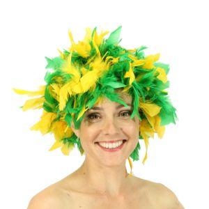 www.houseofadorn.com - Wigs Feather Turkey Chandelle Wig - Green / Yellow (Aussie)