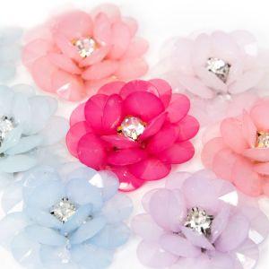 www.houseofadorn.com - Flower Beaded Crystal Rose Bloom Style 8043 (Price per pair)