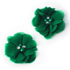 www.houseofadorn.com - Flower Chiffon Diamante Pearl 5cm Style 8019 (Price per pair) - Emerald