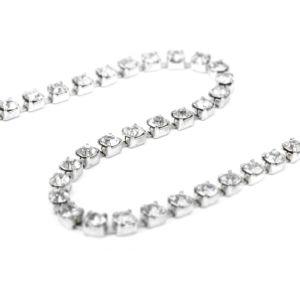 www.houseofadorn.com - Rhinestone Trim - Diamante Chain SS12 Style 3296 (Price per 1m) - Crystal Clear on Silver