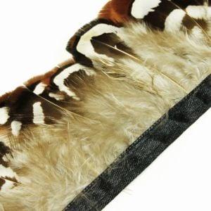 www.houseofadorn.com - Feather Venery Reeve Plumage on Fringe (Price for 50cm) - Brown & White w Black Rim