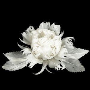 www.houseofadorn.com - Flower Feather Peony w Crinkle Cut Leaves (X-Large) - White