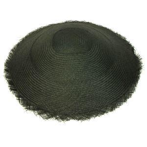 "www.houseofadorn.com - Buntal Flatten Capeline Woven Mat 16"" - Black"