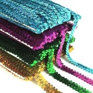 www.houseofadorn.com - Sequin Trim - Two (2) Row Elasticated Stretch Braid (Price per 1m)