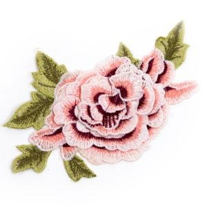 www.houseofadorn.com - Motif Embroidered Rose Flower Applique 18cm Style 7235