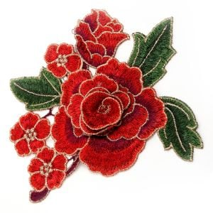 www.houseofadorn.com - Motif Embroidered Rose Bloom 3D Flower Applique 15cm Style 7233