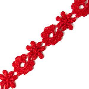 www.houseofadorn.com - Lace Guipure Trim - 13mm Daisy & Snowflake Style #3759 (Price per 1m) - Red