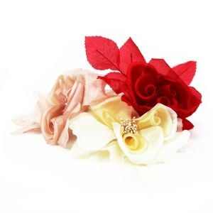 www.houseofadorn.com - Flower Silk Folded Flat Open Rose w Stamens