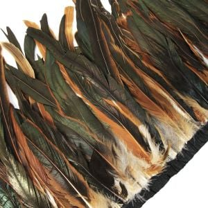 www.houseofadorn.com - Feather Rooster Coque Tail on Fringe 20-30cm (Price per 10cm) - Natural Bronze Oilslick / Iridescent