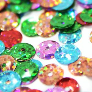 www.houseofadorn.com - Sequins - PET Round Cup Laser Hologram Size 6mm (Price per 20g or 100g)