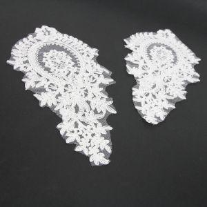 www.houseofadorn.com - Motif Lace Alencon Inspired Rayon Applique 22cm Bouquet Style 5166 (Price per pair) - Ivory
