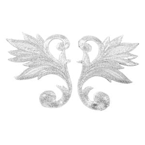 www.houseofadorn.com - Motif Iron-On Embroidered Royal Leaf Applique Style 4987 9cm (Price per Pair) - Silver