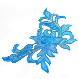 www.houseofadorn.com - Motif Iron-On Embroidered Madame Rose Flower Applique Style 4990 24cm - Turquoise