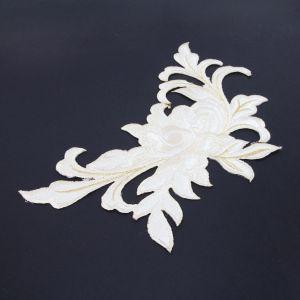 www.houseofadorn.com - Motif Iron-On Embroidered Madame Rose Flower Applique Style 4990 24cm - White