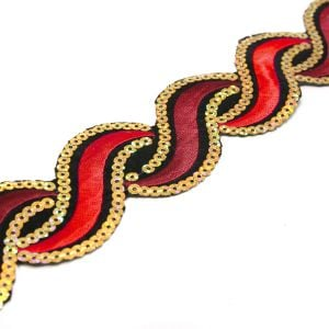 www.houseofadorn.com - Sequin Trim - Iron-On Embroidered Wavey 5cm Style 5112 (Price per 1.2m length) - Red/Maroon