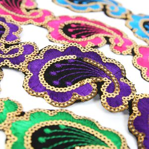 www.houseofadorn.com - Sequin Trim - Iron-On Embroidered Paisley 4.5cm Style 5111 (Price per 1.2m length)