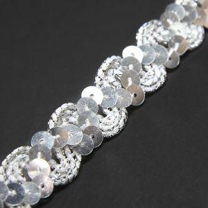 www.houseofadorn.com - Sequin Trim - Zig Zag & Ric Rac Cord w Tinsel Braid 1.5cm Style 5172 (Price per 1m) - Silver