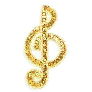 www.houseofadorn.com - Motif Sequin & Beaded Treble Clef Small 10cm Style 10161 - Laser - Gold