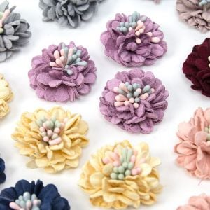 www.houseofadorn.com - Flower Suede Finish Chrysanthemum with Stamens 3.5cm Style 8235 (Price Per 3)